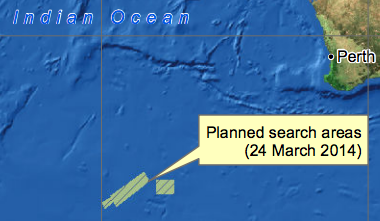 The search area for MH370 on March 24th