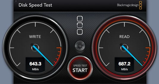 On the Mac, Disk Speed Test delivers similar results – thanks to reader stu 4 for the app suggestion