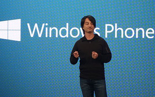 Photo of Microsoft's Joe Belfiore at the Build 2014 conference
