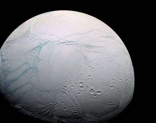 Saturn's moon Enceladus as seen by Cassini