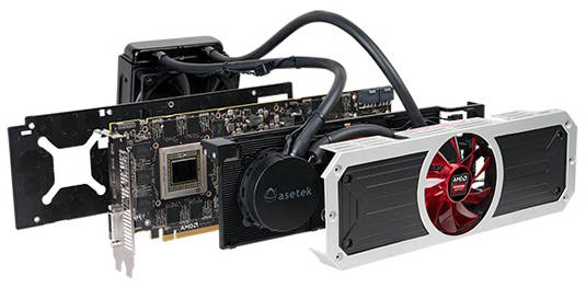 AMD R9 295X2 graphics card, exploded view