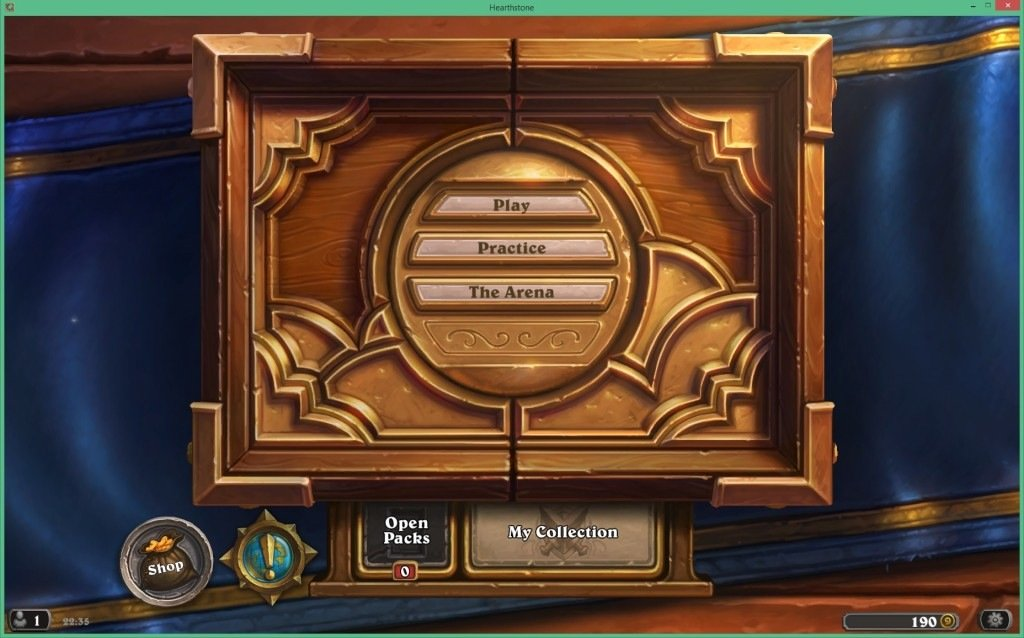Screenshot of the Hearthstone opening screen