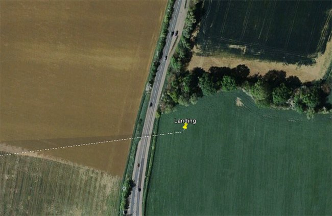 Google Earth satellite image of the Punch landing site