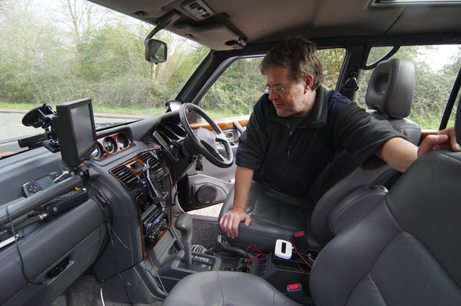 Dave Akerman in one of the pursuit vehicles