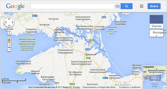 Screenshot of Crimea as seen on Google Maps Russia