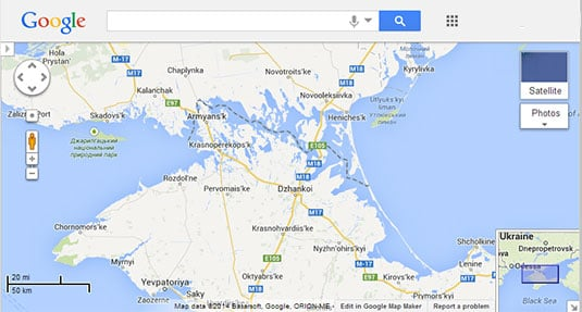 Screenshot of Crimea as seen on Google Maps US