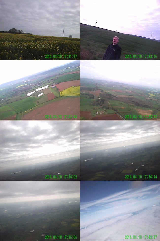 Montage of stills from the DBcam on the test flight