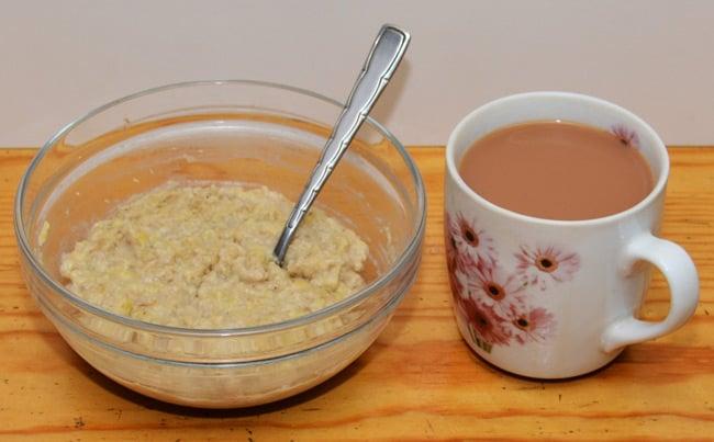 Chris's breakfast of porridge and tea