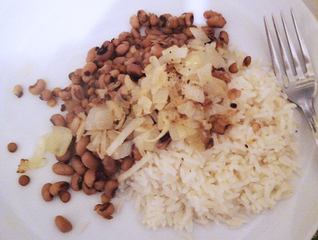 Toby's dinner of rice and beans