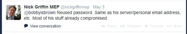 Nick Griffin MEP hacked by Anonymous