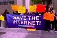 Protesters outside FCC headquarters