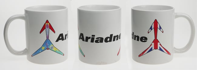 Aridane's china mug, with her name and spaceplane livery