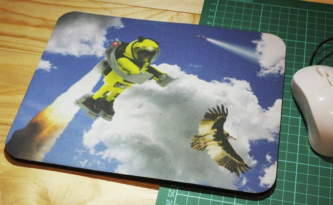 Our rocket-powered Playmonaut image mouse mat