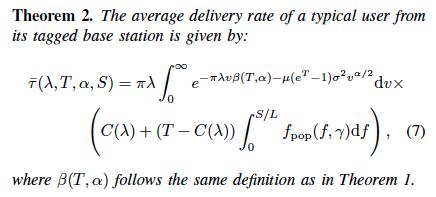 Mathematical formula for base station caching