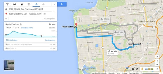 Google Maps bike route with elevation chart