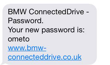 Screenshot from Connected Drive text message showing a short password