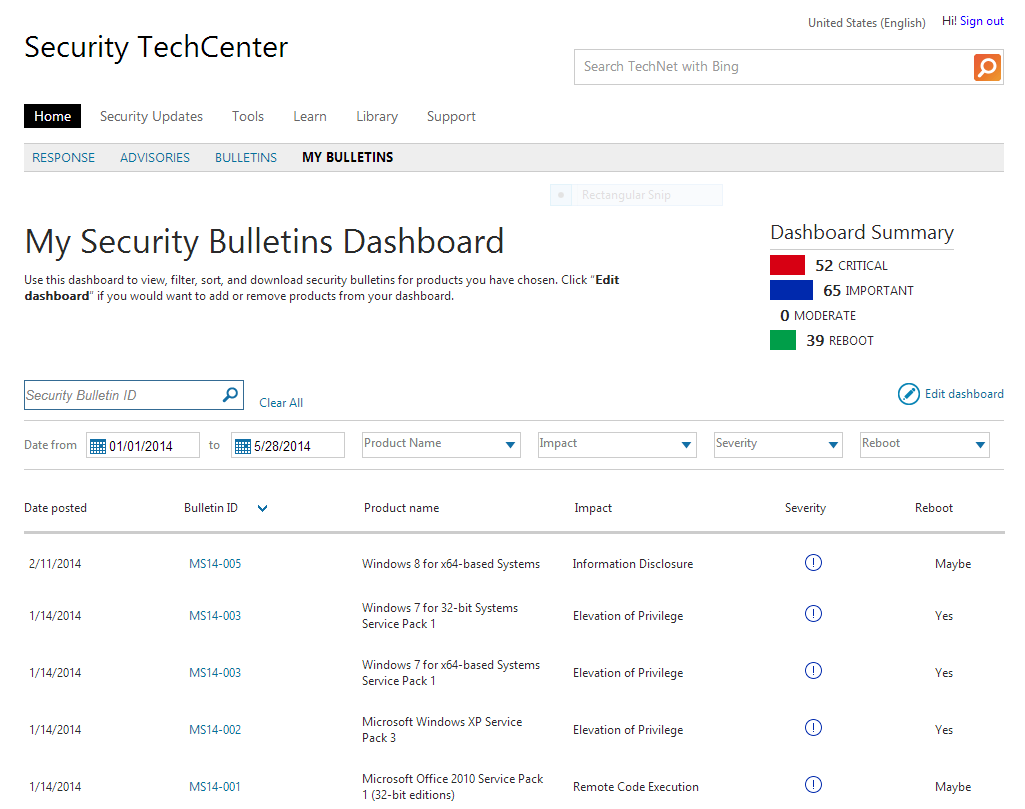 Screenshot of Microsoft's myBulletins security service