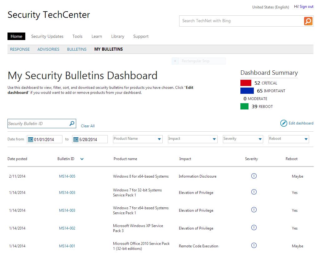 Screenshot of Microsoft's myBulletins security service