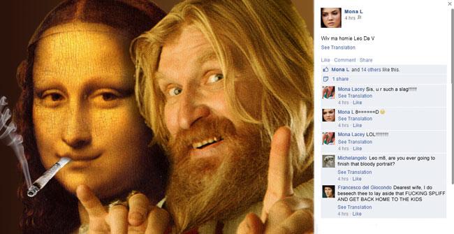 Mona Lisa and Leonrado da Vinci on Facebook