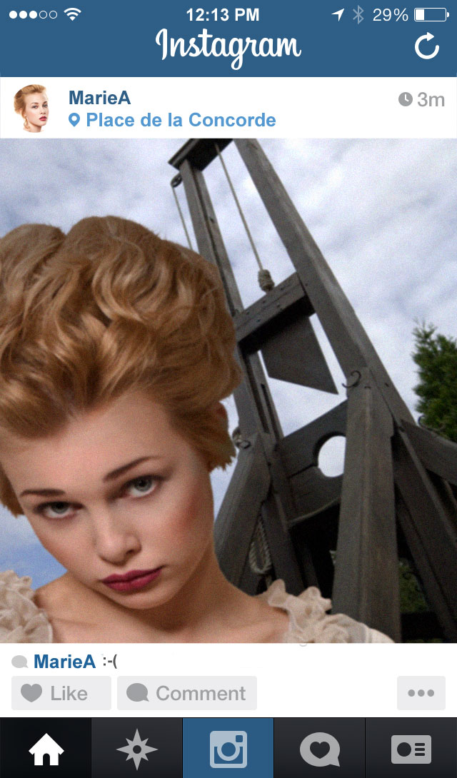 Marie Antoinette at the guillotine on Instagram