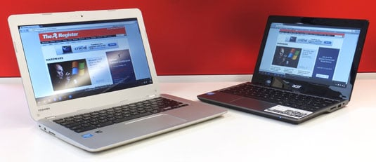 Toshiba CB30-102 13.3in Chromebook and Acer C720 Chromebook