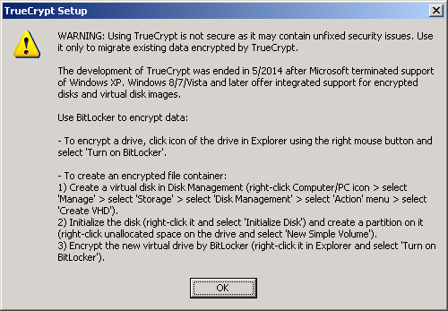 Screenshot of TrueCrypt 7.2 installing on Windows