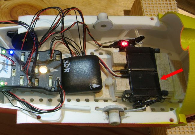 The canard servos inside the Vulture 2