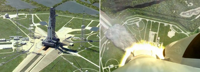 Artist's impressions of the SLS launch