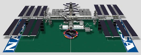 The International Space Station compared in size to a football pitch