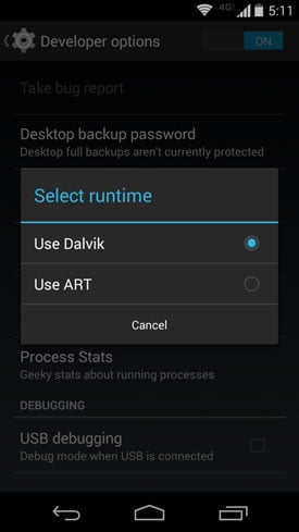 "Screenshot of an Android ""KitKat"" phone with the option to use ART"