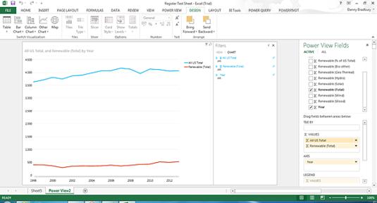 Power BI screenshot: dragging fields