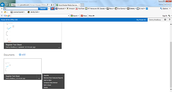 Power BI screenshot 5: uploading to site