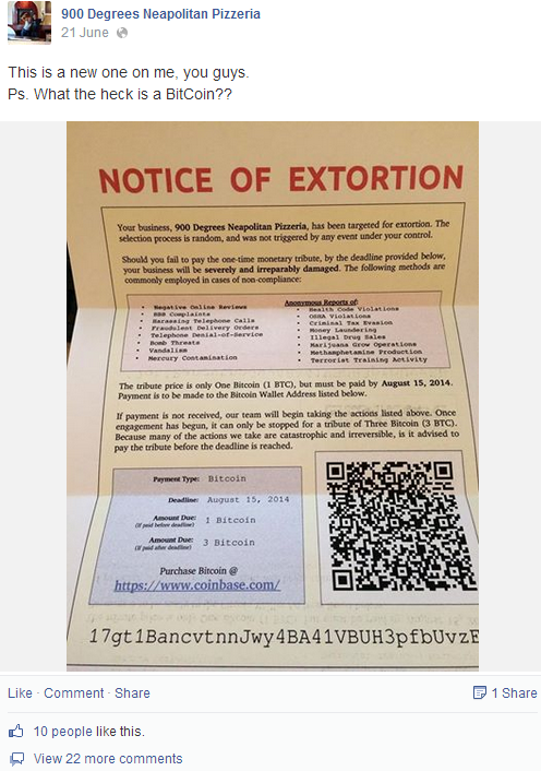 Notice of Extortion