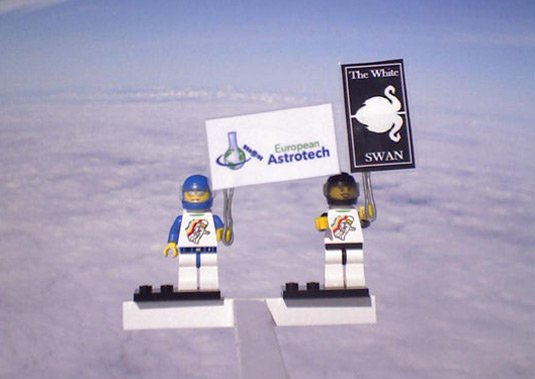 Two Legonauts at altitude during a previous test flight