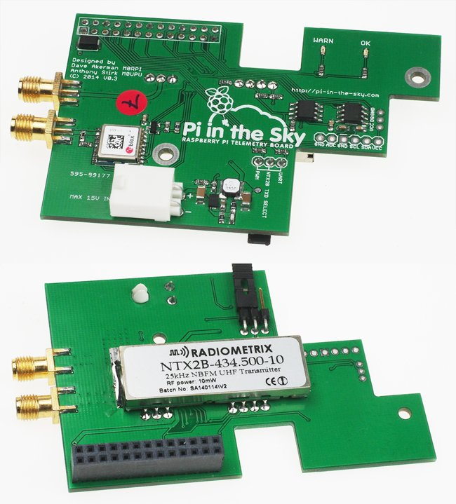 The Pi in the Sky board with all components soldered on