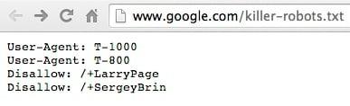 Google's killer-robots.txt page
