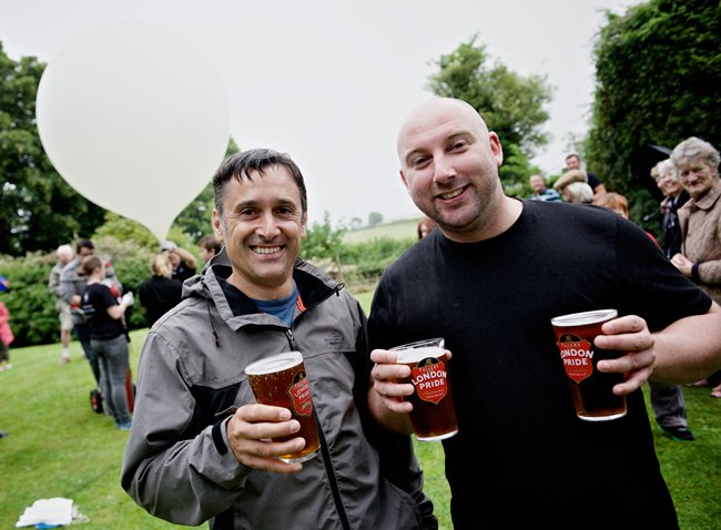 Two pub local with beer at the BALYOLO launch