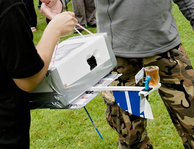 The payload box and exterior beer container