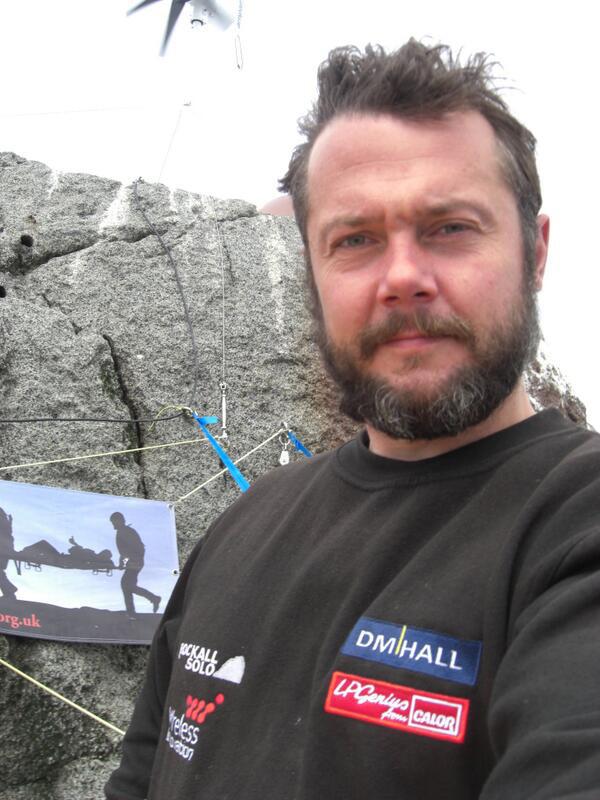 Nick Hancock atop Rockall yesterday