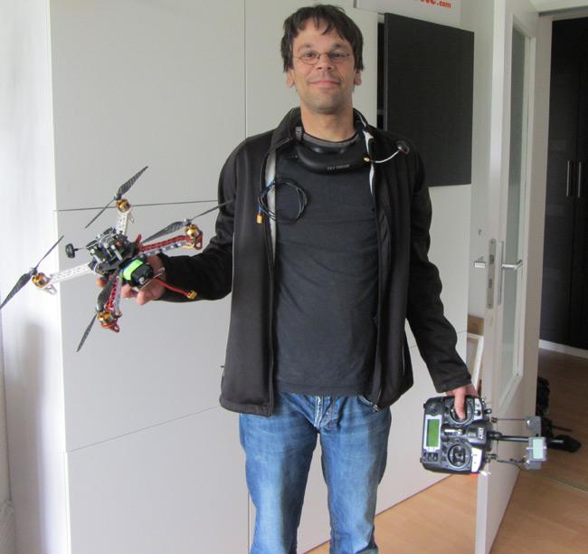 Linus poses with a quadchopper