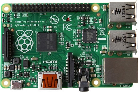 The Raspberry Pi B+ circuit board