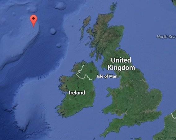 Google map showing the position of Rockall