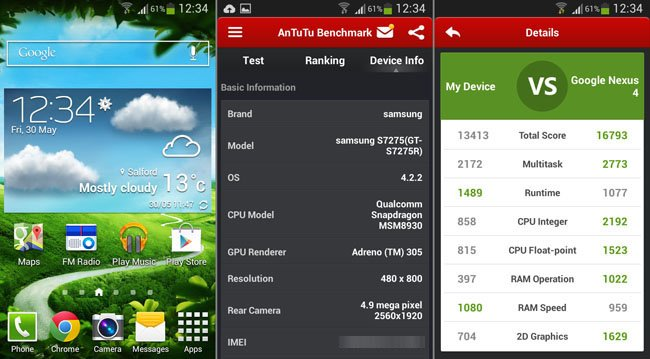 Samsung Galaxy Ace 3 homescreen and AnTuTu score