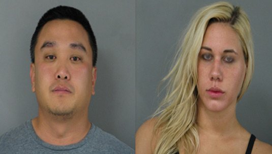 Police mugshots of Michael Suh and Nicole Germack