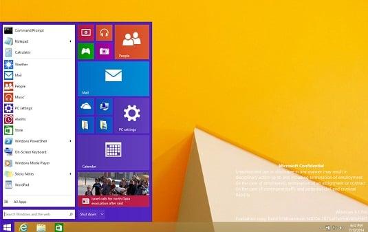 Leaked screenshot showing new Windows 8.x Start Menu