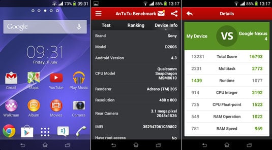 Sony Xperia E1 homescreen and AnTuTu score