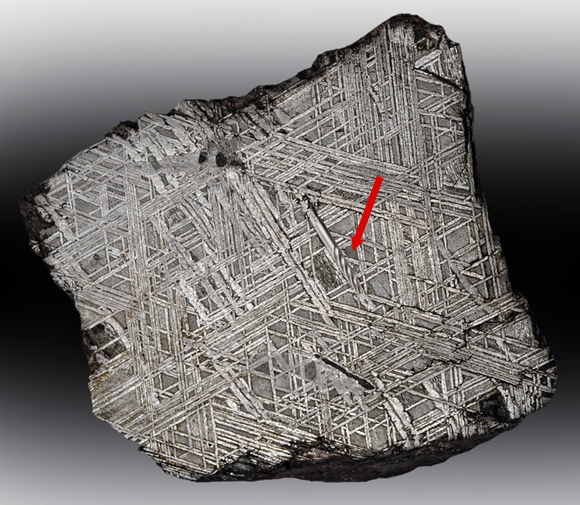 View of primitive screw inside meteorite