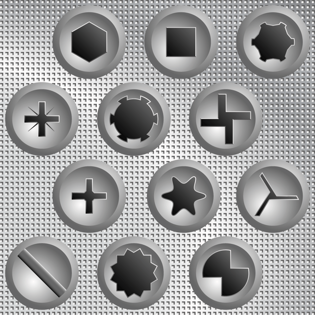 Different types of screw heads