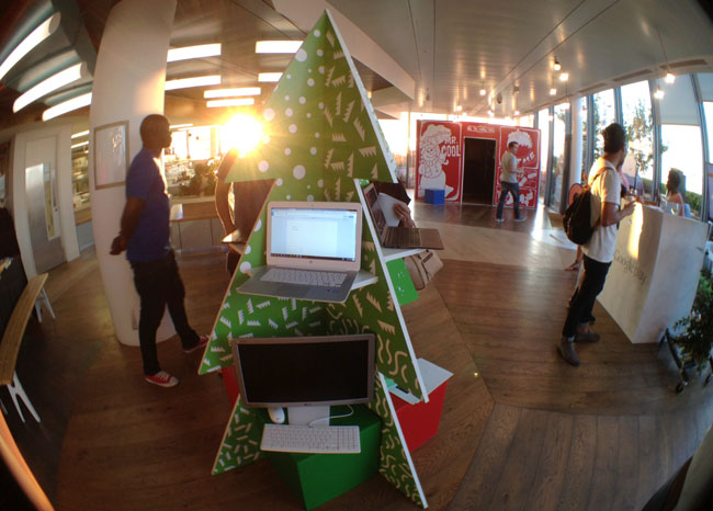 Chromebook Christmas tree with HP's 14in model and LG's Chromebase desktop version