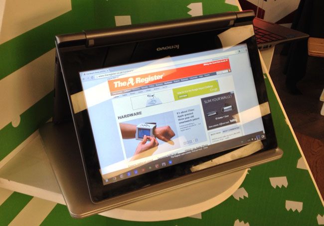 Lenovo's N20p bendy Chromebook stands atop a Toshiba CB30